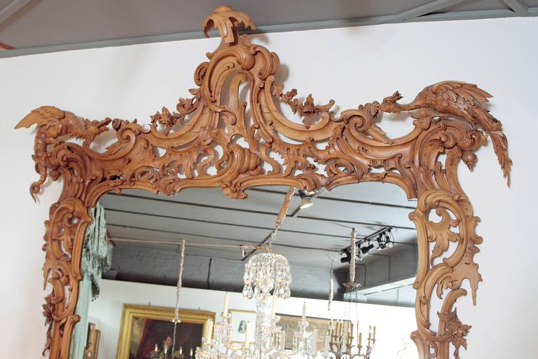 George III Irish Rococo Style Carved Pine Pier Mirror and Matching Console 5
