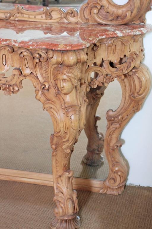 George III Irish Rococo Style Carved Pine Pier Mirror and Matching Console 7