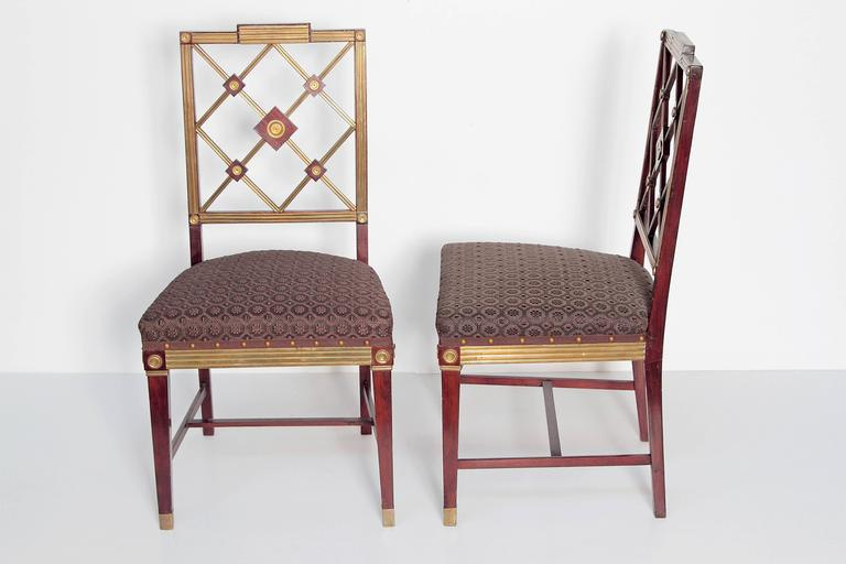 Hand-Crafted Pair of Russian Empire Neoclassical Brass Mounted Mahogany Side Chairs For Sale