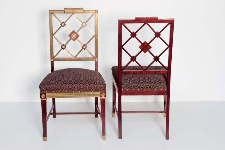 Pair of Russian Empire Neoclassical Brass Mounted Mahogany Side Chairs In Good Condition For Sale In Dallas, TX