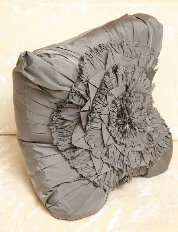 Lili Piazza Large Modern Gray Distressed Floral Pillow In New Condition For Sale In New York, NY