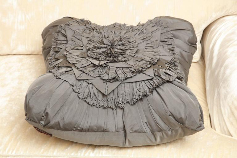 Lili Piazza Large Modern Gray Distressed Floral Pillow For Sale 1