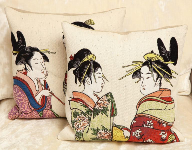 International Style Pair of Jules Pansu Four Japanese Women Tapestry Square Pillows For Sale