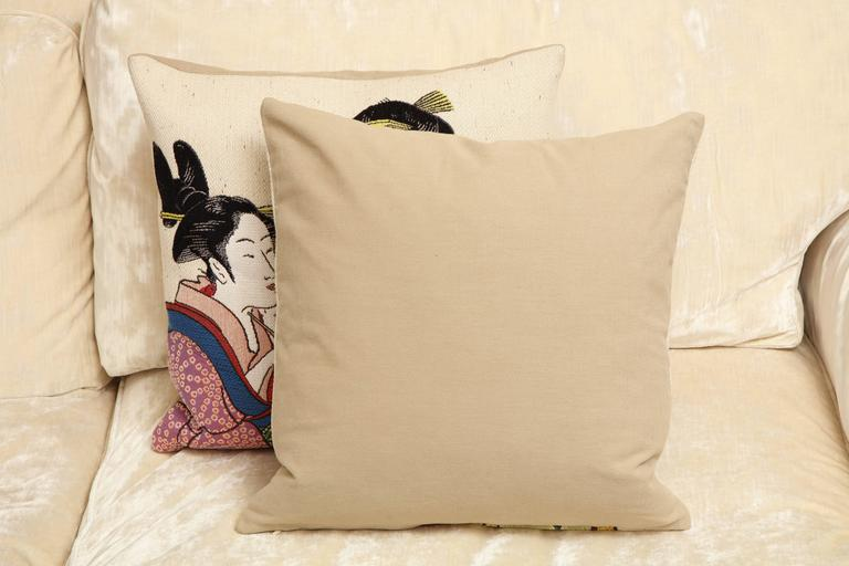 French Pair of Jules Pansu Four Japanese Women Tapestry Square Pillows For Sale