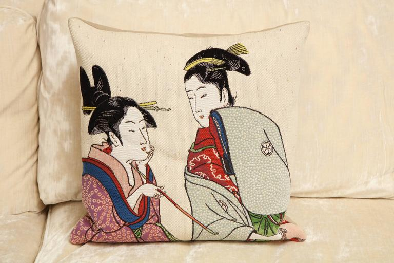 Pair of Jules Pansu Four Japanese Women Tapestry Square Pillows In New Condition For Sale In New York, NY