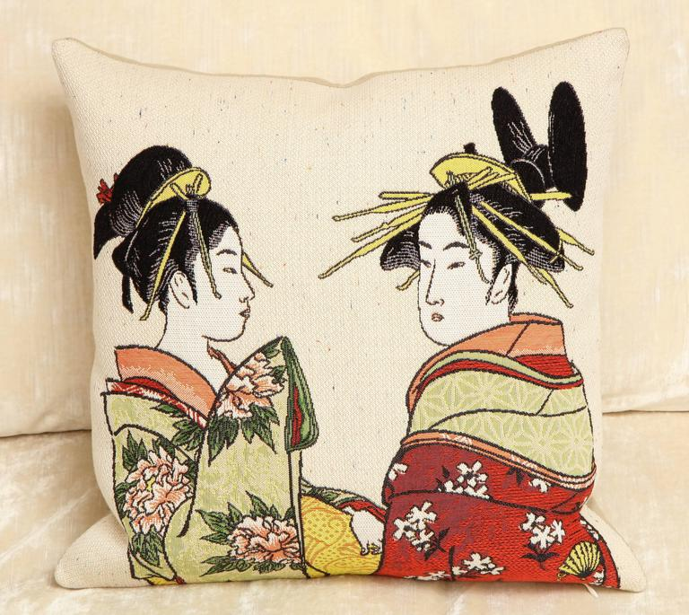 Cotton Pair of Jules Pansu Four Japanese Women Tapestry Square Pillows For Sale