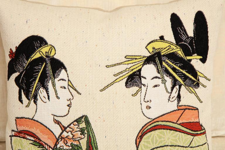 Pair of Jules Pansu Four Japanese Women Tapestry Square Pillows For Sale 1