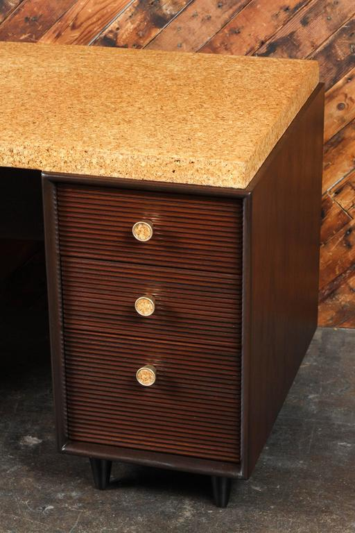 Rare Mid-Century cork and mahogany desk by Paul Frankl for Johnson Furniture.