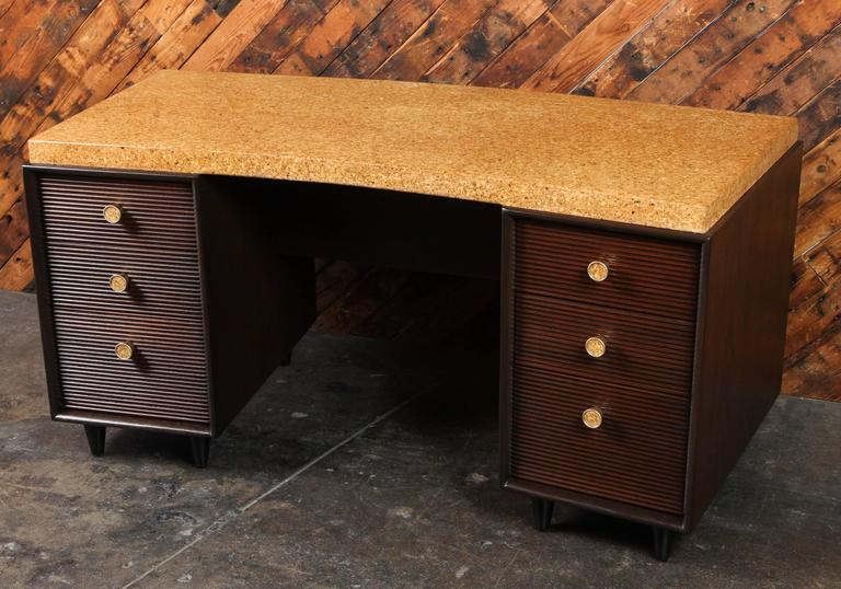 Mid-Century Modern Rare Mid-Century Cork and Mahogany Desk by Paul Frankl for Johnson Furniture For Sale