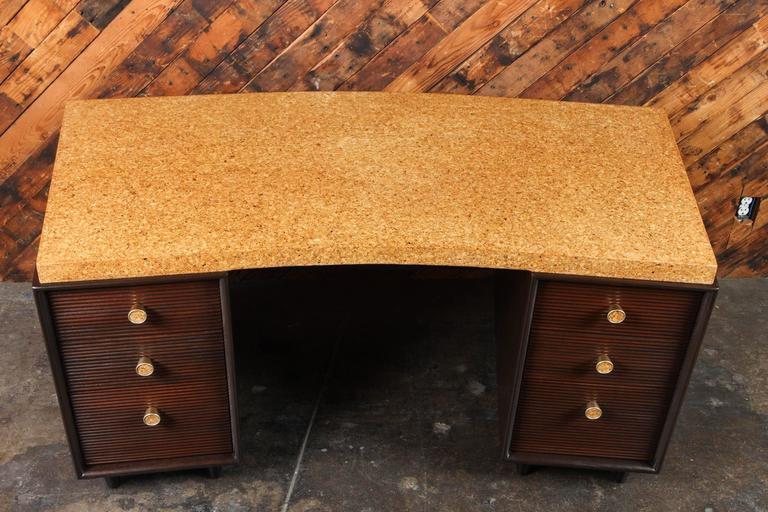 Rare Mid-Century Cork and Mahogany Desk by Paul Frankl for Johnson Furniture For Sale 1