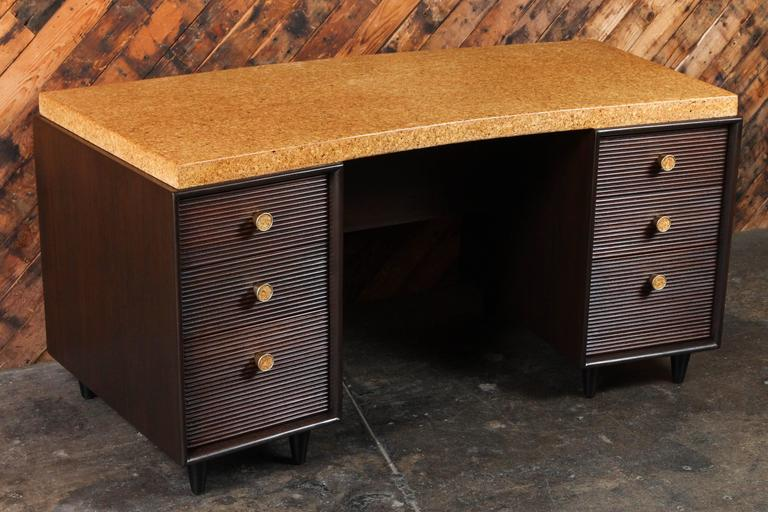 Rare Mid-Century Cork and Mahogany Desk by Paul Frankl for Johnson Furniture For Sale 2