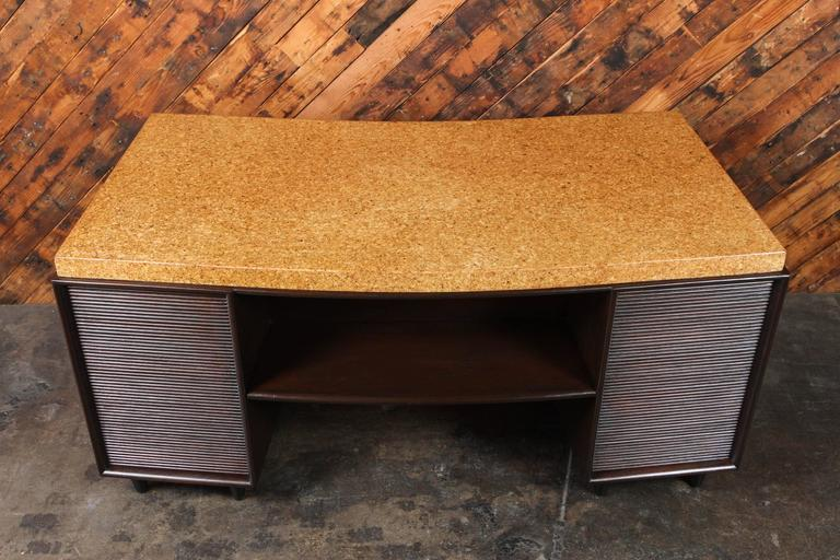 Rare Mid-Century Cork and Mahogany Desk by Paul Frankl for Johnson Furniture For Sale 4