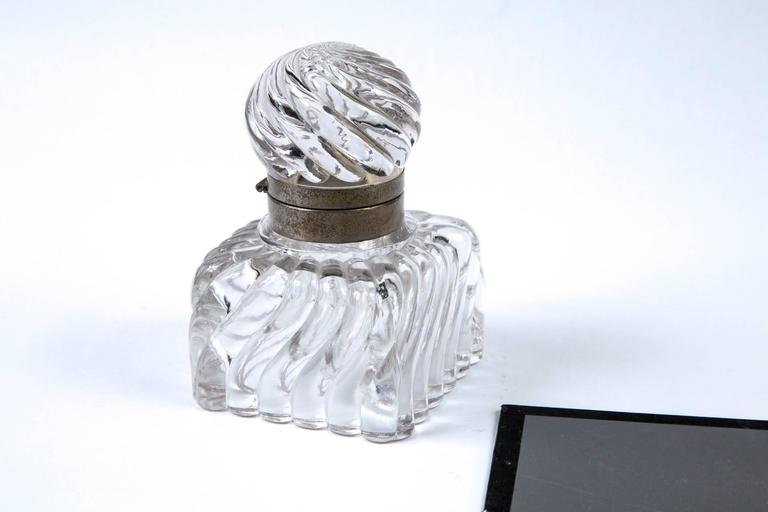Early 19th century swirl design cut crystal pewter collar inkwell.