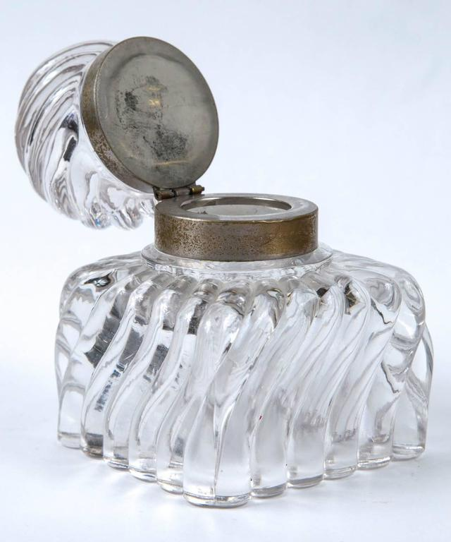 Early 19th Century Swirl Design Cut Crystal Pewter Collar Inkwell For Sale 2