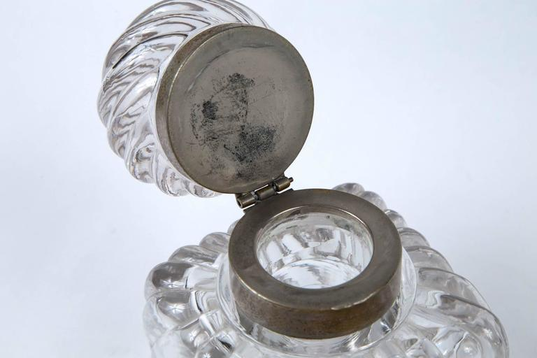 Early 19th Century Swirl Design Cut Crystal Pewter Collar Inkwell For Sale 3