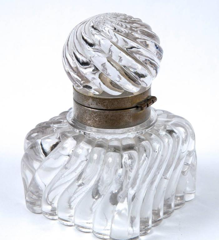 Early 19th Century Swirl Design Cut Crystal Pewter Collar Inkwell For Sale 4