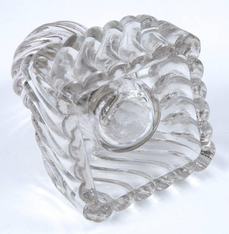 Early 19th Century Swirl Design Cut Crystal Pewter Collar Inkwell For Sale 5