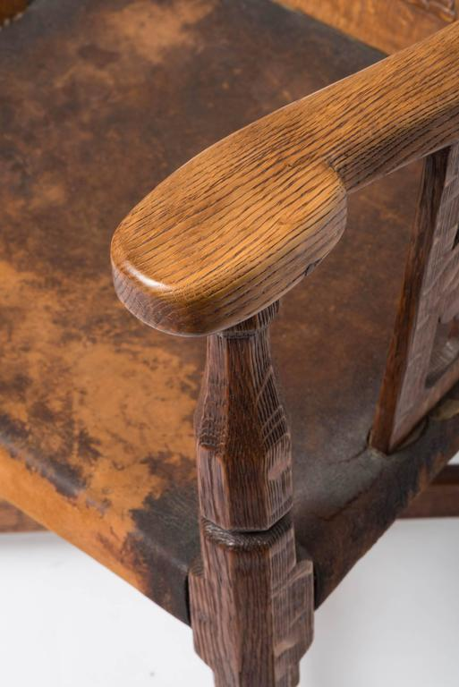 Arts Crafts Chair Leather Octagonal Back