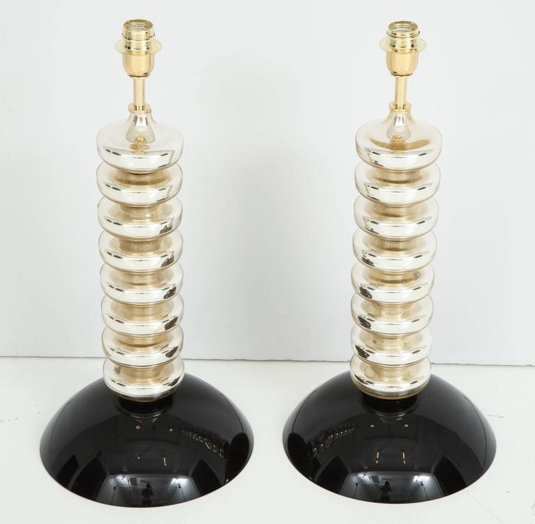 Unique Pair of Italian Mercury Gold and Black Murano Glass Lamps 7