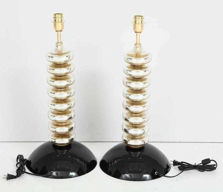 Unique Pair of Italian Mercury Gold and Black Murano Glass Lamps 10