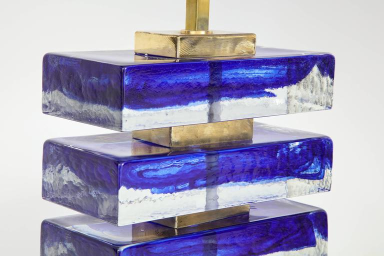 Brass Impressive Pair of Italian Blue and Clear Murano Glass Block Lamps For Sale