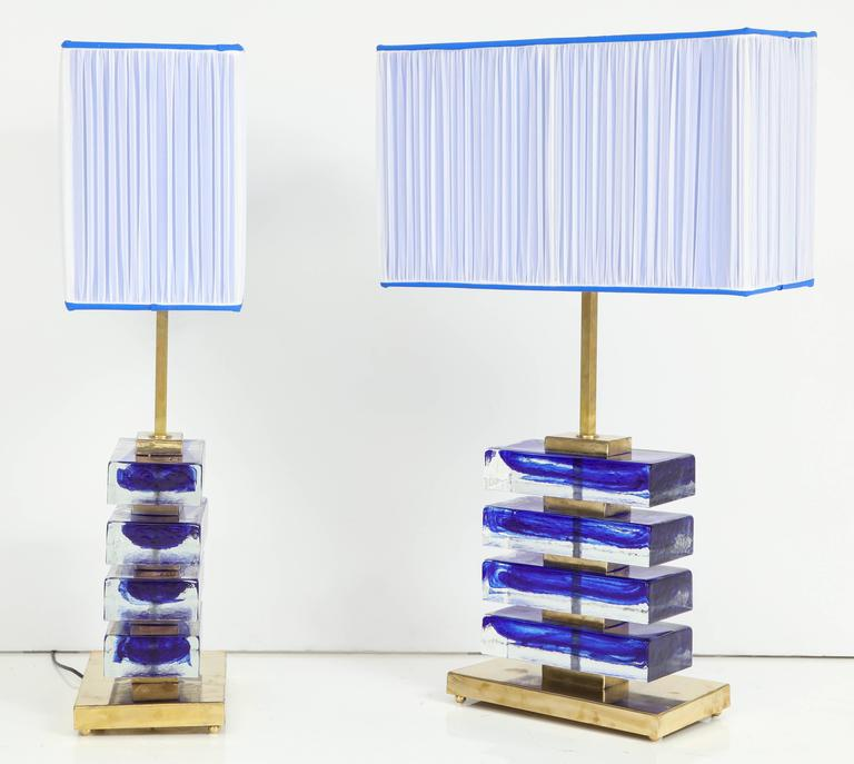Impressive Pair of Italian Blue and Clear Murano Glass Block Lamps For Sale 1
