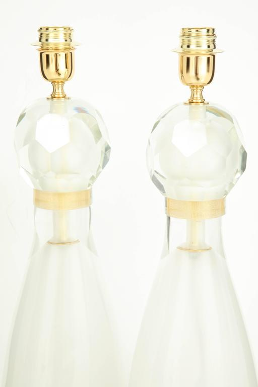 Pair of Italian Ivory and Gold Murano Glass Lamps, Signed 7