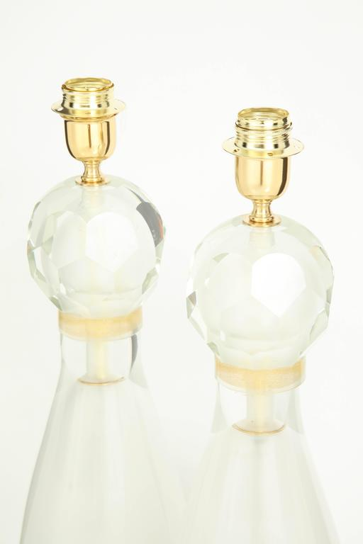 Pair of Italian Ivory and Gold Murano Glass Lamps, Signed 8