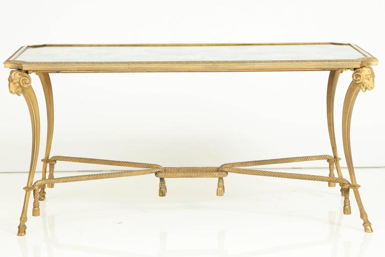 French Empire Style 1940s Baguès Bronze Coffee Table For Sale