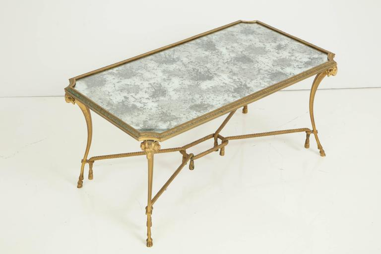 Empire Style 1940s Baguès Bronze Coffee Table For Sale 4