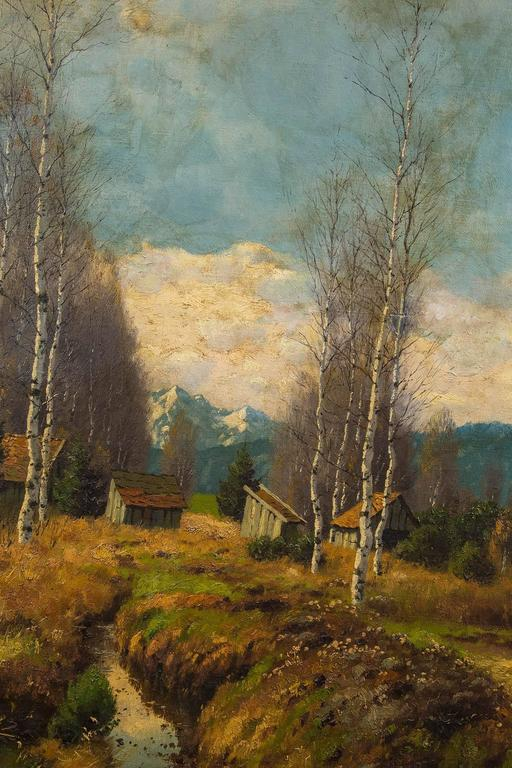 19th Century Antique Painting Trees and Cottages with Blue Skies For Sale