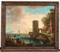 18th Century Italian Old Master Painting of Harbor Scene