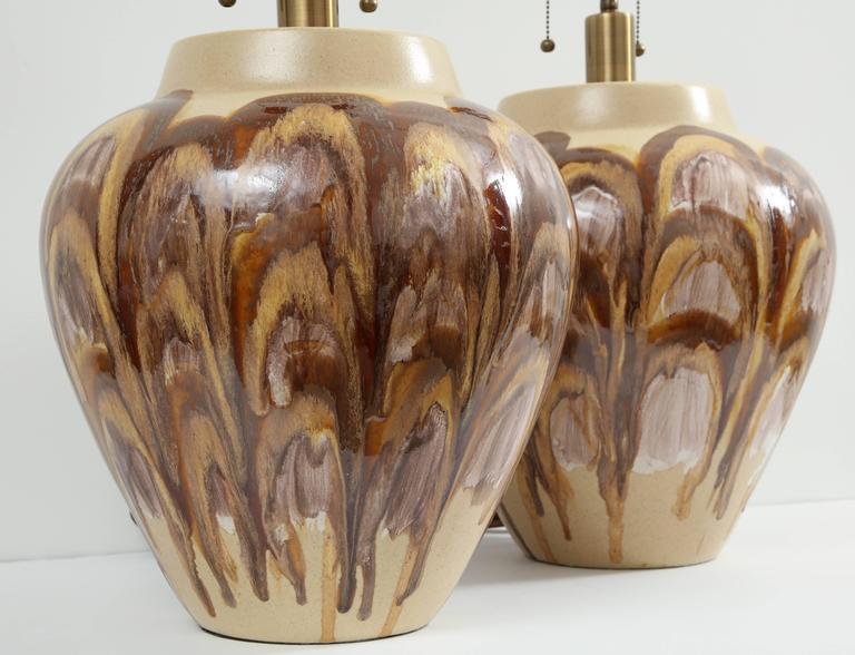 American Pair of 1960s Ceramic Lamps For Sale