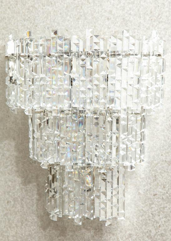 20th Century Kinkeldey Geometric Faceted Sconces For Sale
