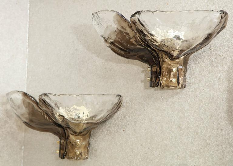 Mazzega Clear and Amber Glass Sconces 3