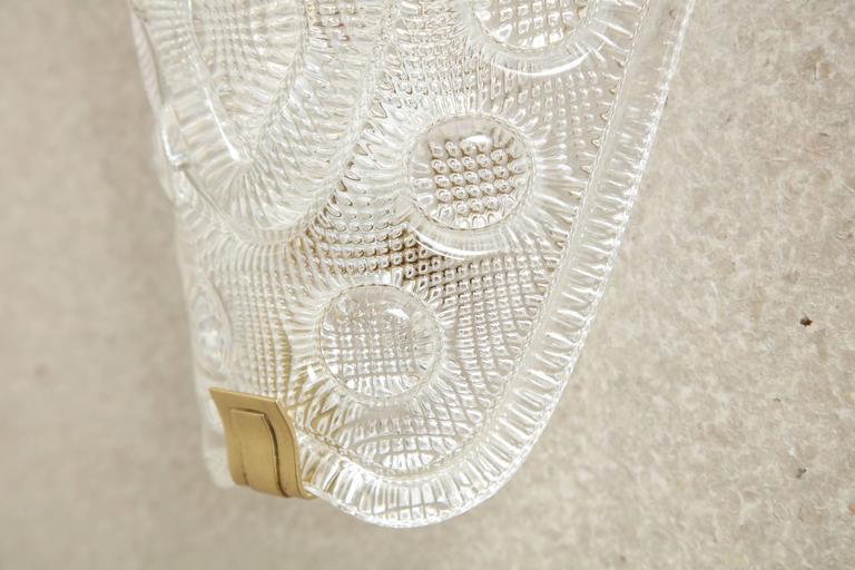 Brushed Carl Fagerlund/Orrefors Crystal Sconces For Sale