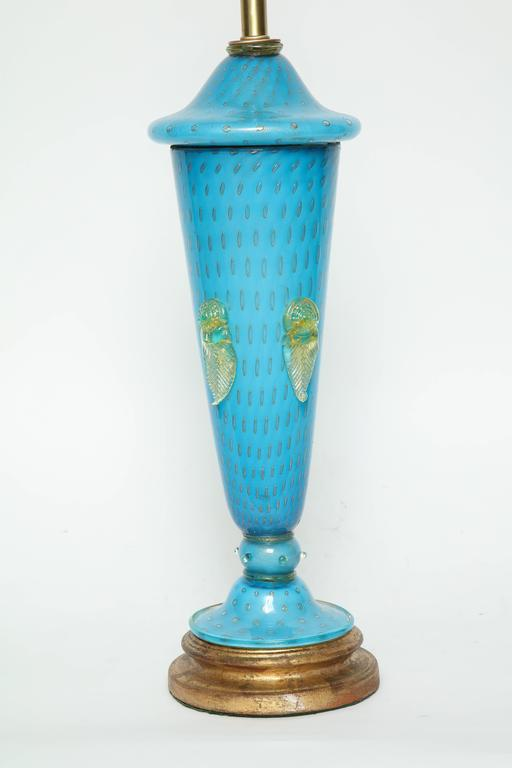 20th Century Barovier Tiffany Blue Murano Glass Lamps For Sale