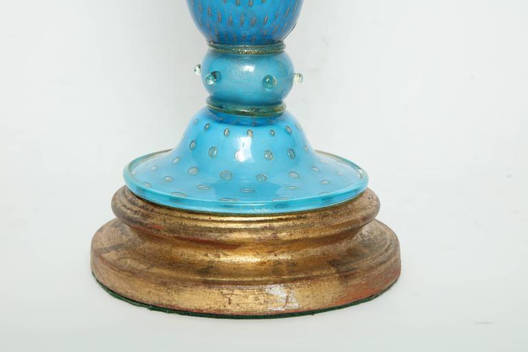 Barovier Tiffany Blue Murano Glass Lamps 9