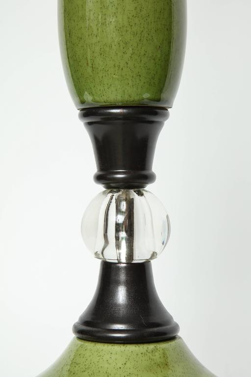 20th Century Mid-Century Moss Green Ceramic Lamps For Sale