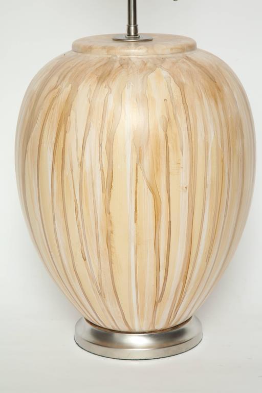 Italian Tan Brown Drip Glazed Ceramic Lamps For Sale At