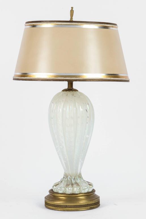 Murano Glass Pair of Mid-Century Italian Murano Iridescent Lamps For Sale