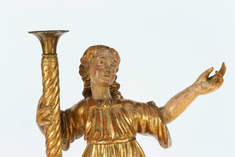 Hand-Carved Pair of 18th Century Italian Giltwood Saints For Sale