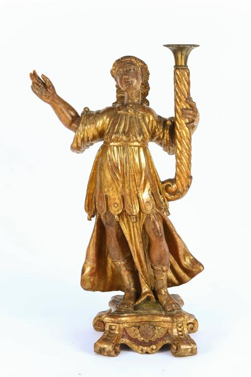 Pair of 18th Century Italian Giltwood Saints For Sale 1