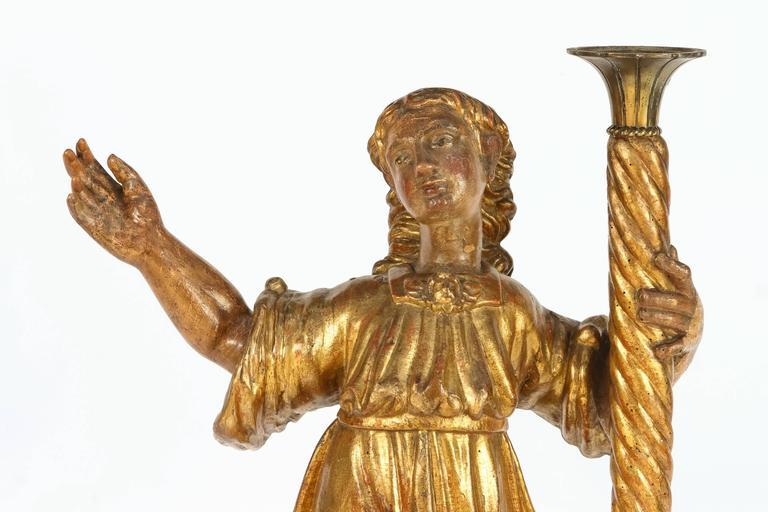 Pair of 18th Century Italian Giltwood Saints For Sale 2