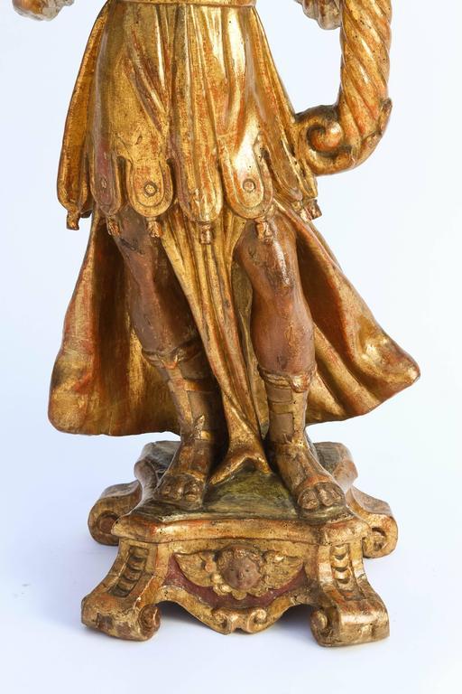 Pair of 18th Century Italian Giltwood Saints For Sale 3