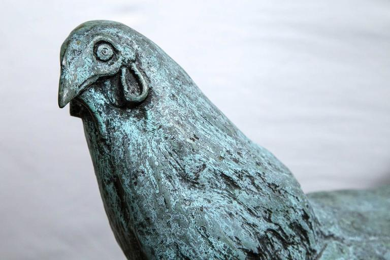 Mexican Bronze Rooster, Signed Carl Pappe For Sale
