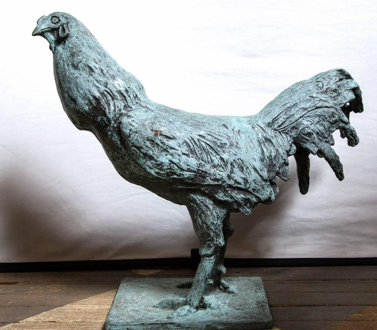 Hand-Crafted Bronze Rooster, Signed Carl Pappe For Sale