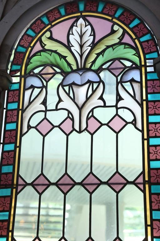 Religious Stained Glass Window Antique Depicting A