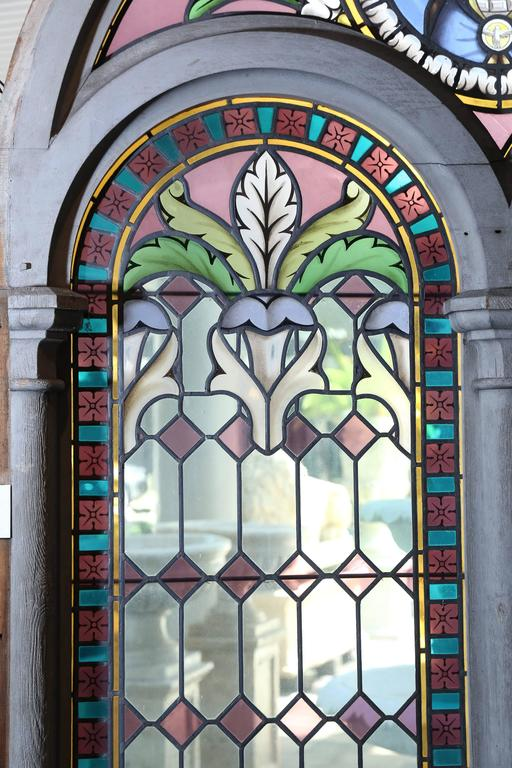 Pair Of Large Religious Stained Glass Windows French For