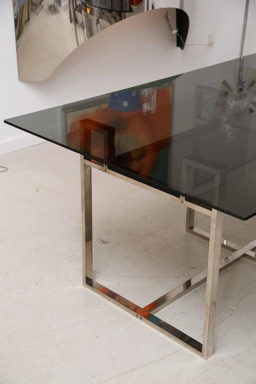 Milo Baughman Chrome Geometric Dining Table 3